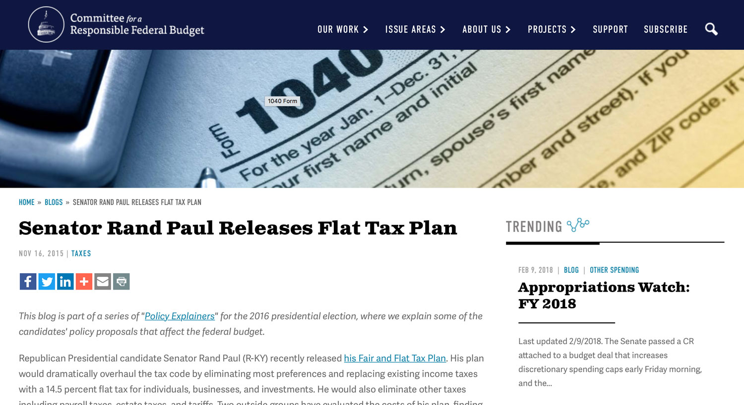 Committee for responsible budget, Senator Rand Paul releases Flat Tax plan