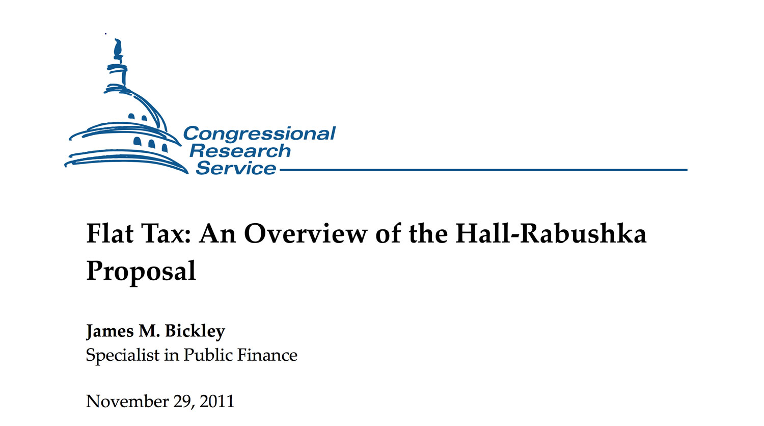 Congressional Research Service, Flat Tax: An Overview of the Hall-Rabushka Proposal